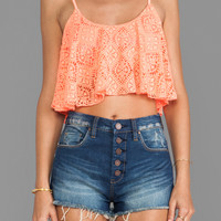 Lovers + Friends Delight Crop Top in Coral Lace