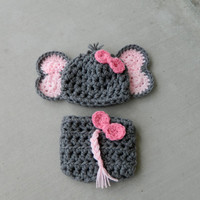 Handmade, crochet Elephant Hat, Elephant outfit, Elephant Photo prop with bow, Newborn girl hat