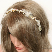 Gold Headband, Wedding, Hair Accessories by FancieStrands