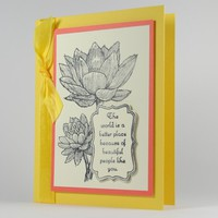 Water Lilly Vintage Style Handmade Friendship Greeting Card Yellow  | cardsbylibe - Cards on ArtFire