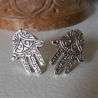 Silver Hamsa Hand Earrings - Hamsa Stud Earrings - Silver Hamsa Hand Earrings, Hamsa Hand Post Earrings