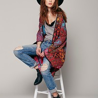 Free People Womens Travelled History Statement Kimono - Blue, One