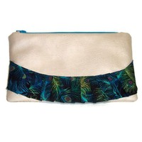 Clutch Purse Cream Faux Leather Peacock Print Cotton Zipper Medium