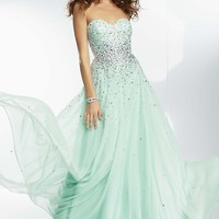 Full Length Strapless Chiffon Formal Dress