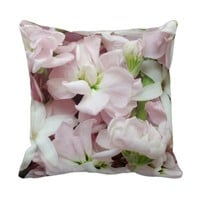 Pastel spring flowers closeup throw pillow