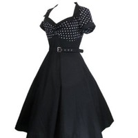 Skelapparel 60's Vintage Retro Design Polka Dot Flare Party Dress