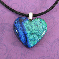 Blue and Green Heart Necklace, Dichroic Heart Necklace, Girlfriend Jewelry, Valentines Day Heart - Pussycat - 4619 -2