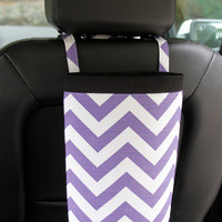 Car Trash Bag CHEVRON PURPLE/White, Women, Car Litter Bag, Auto Accessories, Auto Bag, Car Organizer