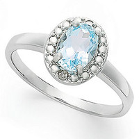Victoria Townsend Sterling Silver Blue Topaz (1-1/10 ct. t.w.) and Diamond Accent Oval Ring