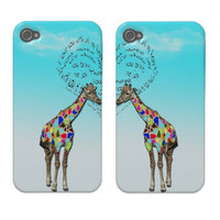 Matching giraffe heart iphone covers case-mate iphone 4 case from Zazzle.com