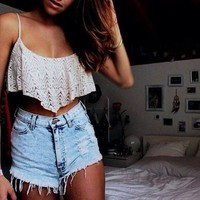 Light Acid High Waisted Shorts