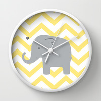Baby Elephant Wall Clock by Janelle Krupa