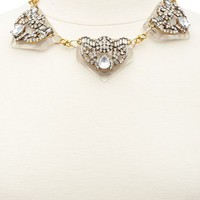 CLEAR LUCITE & RHINESTONE COLLAR NECKLACE
