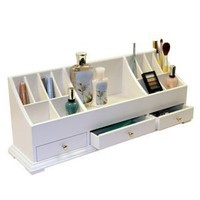Amazon.com: Large Personal Organizer with Drawers (White) (9&quot;H x 24&quot;W x 6&quot;D): Home &amp; Kitchen
