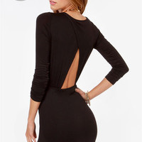 LULUS Exclusive Uptown Bound Cutout Black Dress