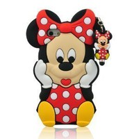 I Need (TM) 3d Cartoon Minnie Mouse Soft Silicon Case Cover Compatible for Apple Iphone 5/5g/5s(Red)