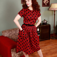 Vintage 1950s Dress - Black and Red Spider Web Checkered Novelty Print Day Dress - Checkered Charlotte