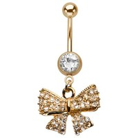 Sparkling Gold Bow Belly Button Ring