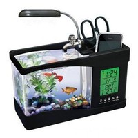 Usb Desktop Fish Aquarium, Real Fish Tank, Alarm Clock