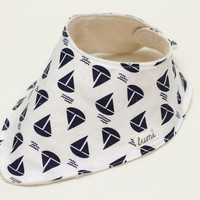 Organic Cotton Dribble Bib - Blue And White Sail Boats - Nautical Bandana Dribble Bib | Luulla