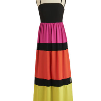ModCloth Colorblocking Long Spaghetti Straps Maxi Vivid Dreams Dress