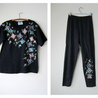 80s Painted Floral T-Shirt & Pants Set -- Glittery, Puffy Paint, Bejeweled, Hipster Kitsch Glam!
