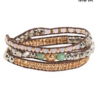 Aeropostale Womens Embellished Cord Wrap Bracelet - Brown, One