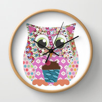 Appliqué Patch Owl Wall Clock by Sharon Turner