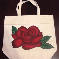 Hand Painted Red Rose Tote Bag