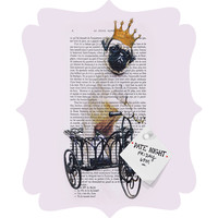 Coco de Paris Pug On Bicycle Quatrefoil Magnet Board