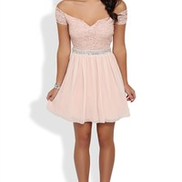 Off the Shoulder Short Prom Dress with Stone Trim Waist