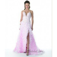 A-Line Halter Sweep Train Organza Prom Dress SAL1075