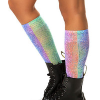 The Rainbow Dot Trouser Socks in SIlver