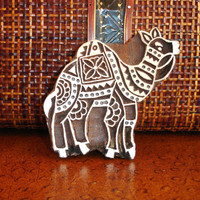 Camel Stamp: Hand Carved Wood Stamp, Large Indian Stamp, Wooden Ceramic Tile Pottery Stamp, India Decor