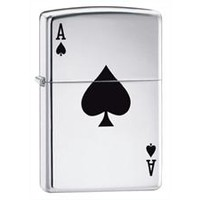 Zippo Lucky Ace High Polish Chrome Pocket Lighter - Great For Camping/Hiking