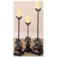 New 3 Floor Standing Wrought Metal Candle Holders