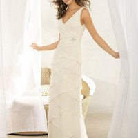 Nu georgette V-neck Wedding Dress - Basadress.com