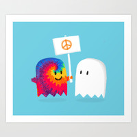 Hippie ghost Art Print by Budi Satria Kwan