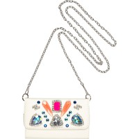 River Island Womens White embellished cross body phone case