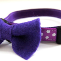 Purple Felt Dog Bow Tie