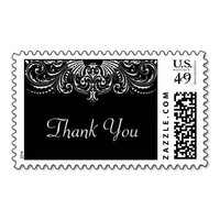 Elegant Victorian Lace Wedding Thank You Stamp