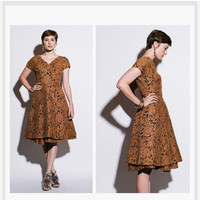 DRESS SALE 1950s Lace Dress . Bronze Sculptural Midi . 50s Circle Skirt