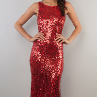 Long Sleeveless Sequin Dress