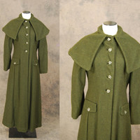 vintage 40s Princess Coat - 1940s Olive Green Wool Coat Cape Collar Maxi Coat Sz M L