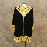 vintage 80s Beaded Coat - Art Deco Black Velvet Swing Coat 1980s Opera Coat Sz M L