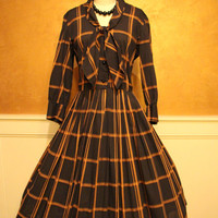 1950s Dress - Vintage 50s Dress - Black Brown Neck Bow Shirtwaist Cotton L - The Long Way Home