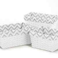 Set of 3 One Size Fits Most Basket Liners for Chevron Zig Zag Bedding Sets by Sweet Jojo Designs