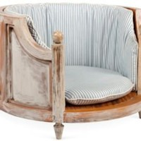 One Kings Lane - Gaye Tapp, Little Augury - French-Style Dog Bed w/ Ticking Cushion