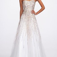 Strapless Heavily Sequin Prom Dress