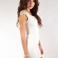 White Studded & Chain Shoulder Bodycon Dress